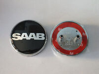 SAAB BLACK NEVS 68mm BOOT TRUNK REAR BADGE Emblem 2 PIN 93 95 9-3 9-5 2003-2010