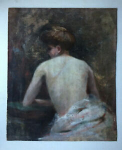 FRENCH IMPRESSIONISM OIL PAIINTING Portrait Nude woman BONNARD