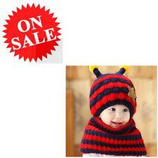 Knit Scarf Set Woolen Warm Honeybee Stripe Crocheted Earflap Beanie Hat For Baby
