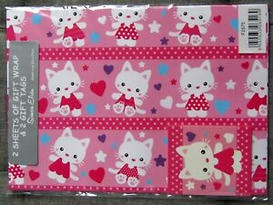 Cute Pink Kitty Gift Wrap - 2 Sheets 70 x 50cm With Matching Gift Tags
