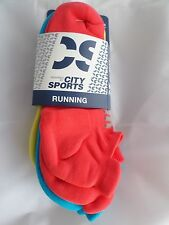 3 Pair City Sport Running No Show Socks Tab Back Heel Guard  6-12 Bright Neon