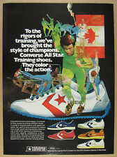 1975 Converse All Star Track Training Shoes white red gold blue vintage print Ad