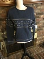 Ladies Eddie Bauer 100% Lambswool Blue Sweater Size Small