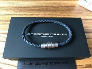 Porsche Design Bracelet Grooves stainless steel grey blue 19 cm *NEW* BOX*