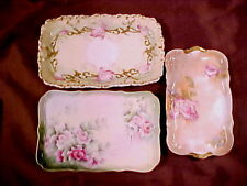 LIMOGES, 3 PIN/CARD TRAYS, 19th/EARLY 20th C., ROSE DECOR., MISC MANUFACTURERS