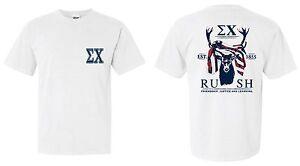 Sigma Chi T-Shirt White Comfort Colors Tee ΣX Sig Chi USA Flag RUSH Est. 1855