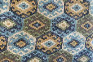 Vintage P Kaufmann Home Decor Fabric Blue & Tan Geometric Aztec 2.5 yds