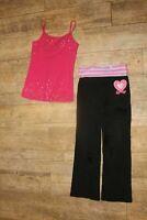Girls JUSTICE pink tank sequins & black athletic yoga pants 8 10 gymnast