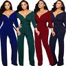 NEW Fashion Women's Long Sleeve V Neck Belted Solid Color Business Long Jumpsuit