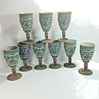 Tiki Tribal Goblets Mask Drink Stem Hawaiian Luau Plastic Party Cups Set of 9