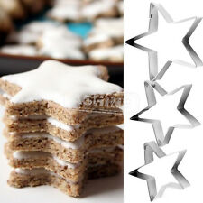 3PCS Stars Biscuit Cookie Cutters Pastry Fondant Molds Moulds  Cake Decorating