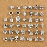40pcs DIY Lucky Tibetan Silver Charm Beads Fit HANDMAKE European Chain Bracelet