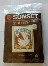 "Vintage Stitchery Kit French Hens 4"" X 5"" Lorna McRoden #540 New Sealed"