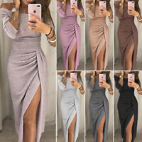 US Women's Off Shoulder Long Sleeve Bodycon Evening Cocktail Party Long Dress