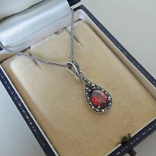 Sterling Silver Garnet and Marcasite Pendant Necklace