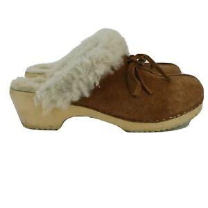 Hanna Andersson Women Fur Line Clogs Leather Brown Slip On Clogs Size US 7 Shoes
