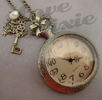 Alice in Wonderland Pocket Watch Necklace Rabbit Key and Pearl LARGE Steampunk