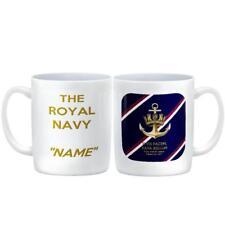 CUSTOMISED Royal Navy Ceramic MUG Crown & Anchor Badge on Tie Colours