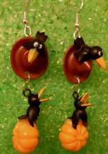 Pumpkin 925 Earrings handcrafted Nora's Usa Fall Harvest Black Crows Hat Bird