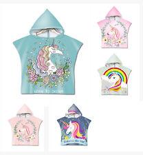 Unicorn Rainbow Stars Flower Hearts Baby Kid Hooded Swim Bath Beach Towel Poncho