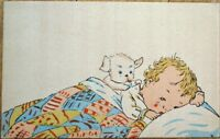 Puppy Dog & Baby in Bed 1930s Postcard - Child Crying