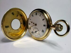 ALLURING GOLD PLATED SWISS MADE, 16s, 15JEWELS, HALF HUNTER POCKET WATCH, FWO!.