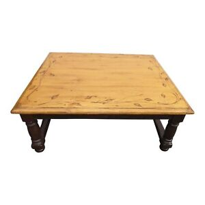 Woodland Square Wood Coffee Table with Floral Leaf Motif