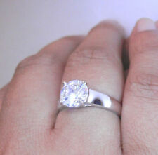 Simulated Diamond Solitaire White Gold Engagement Rings