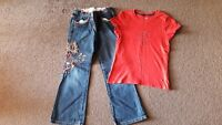 Lovely Girls Tommy Hilfiger Top and Marks and Spencer Jeans 6-7 Years
