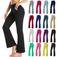 Promover Bootcut Yoga Pants for Women High Waist Print Dress Bootleg Workout Pant Tummy Control for Casual Work