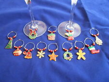 10 x Christmas Wine Glass Charms Assorted Designs Melbourne Seller Fast Postage