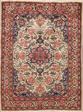 Vintage Ivory Floral Bidjar Hand-Knotted Oriental Area Rug Home Decor Carpet 5x7
