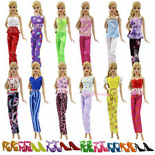 Lot20= 5 Blouse & 5 Trousers Fashion Clothes Outfits & 10 Shoes For Barbie Doll