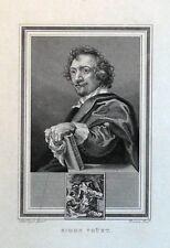 Simon Vouet Peintre Original Antique Portrait Imprimé 1825