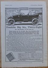 Vintage 1913 magazine ad for Franklin autos - Big Six - Thirty Eight Touring Car