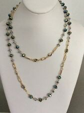$45 Anne Klein Long  Crystal Beaded Necklace Ab Blue A 127