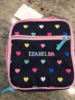 Pottery Barn Kids Mackenzie Classic Lunch Bag Navy Multi Heart Mono Izabella