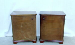 Pair Art Deco Walnut Bedside Cabinets, Tables. 1920s Vintage Antique Nightstands