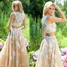 2 pieces Lace Applique Pageant Prom Gown Evening Formal Party Ball Dress Custom