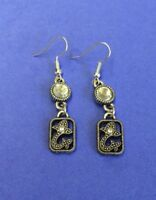 Brighton PACIFIC HEIGHTS Crystals Black & Silver Marquisette Custom Earrings