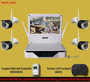 Kabellos Videoüberwachung Set NVR 4x 960P Überwachungskamera Monitor + 0/1/2 TB