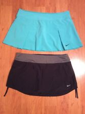 Nike DriFit Women's Tennis Golf Skort Skirt Lot Of Two Black Green Size L
