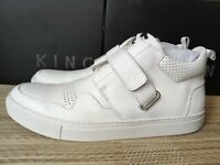King London men's Newton mid-top trainers -100% Leather, hand-made, narrow