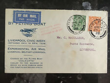 1928 Belfast England Flying Boat Calcutta Cover airmail to Liverpool Civic Week