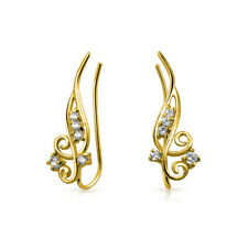 Round 14k Gold Plate Sterling Silver Cz Wire Ear Pin Climbers Crawlers Earrings