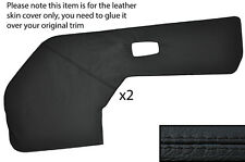 BLACK LEATHER 2X FRONT DOOR CARD TRIM LEATHER SKIN COVERS FITS AUDI 100 C2 76-82