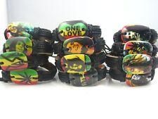 48pcs mixed different designs Bob Marley Reggae Rasta leather bracelets