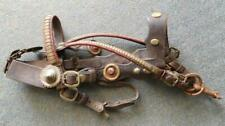 Antique Draught Shire Working Horse Brass Leather Bridle & Bit Tack 1900s