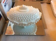 Fenton Vintage Milk Glass Hobnail Footed Covered Box, Mi 3786