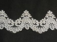 Ivory Floral lace trim Bridal Wedding veil dress hemming lace trim Per Yard